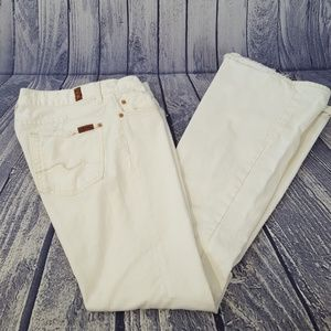 7FAMK White Distressed Flare Leg Jeans, 28